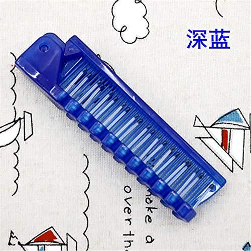 jiangyanyiliao 1pcs Voyage à Usage Unique Peigne Brosse à Cheveux Massage Pliable Anti-Statique Peigne Pliant Portable,Bleu foncé