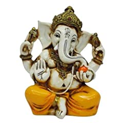 Lord Ganesh is also known as Elephant God and is a considered a remover of Obstacles Uniquely sculpted in marble powder and hand painted in beautiful Gold & other colors Painstakingly and ingenuousnesly created by craftsmen in India An Auspicious gif...