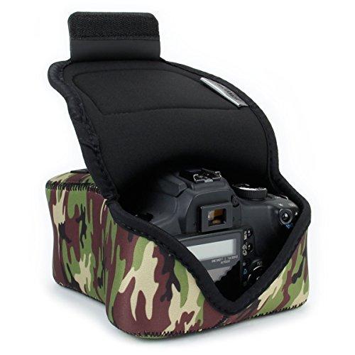 USA Gear Funda Para Cámara DSLR con Protección de Neopreno, Presilla Para Cinturón y Almacenamiento de Accesorios - Compatible con Nikon D3400, Canon EOS Rebel SL2, Pentax K-70 y más - Camuflaje Verde