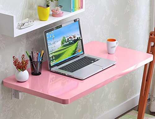 Europese huishoudelijke creatieve klaptafel eenvoudige muur opknoping tafel muur opknoping computer bureau bijzettafel, roze