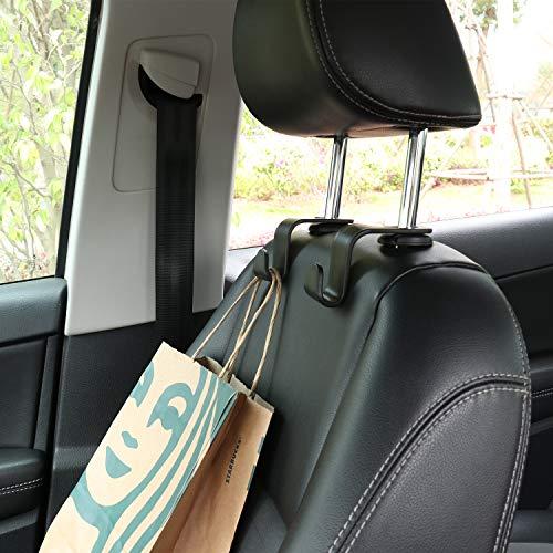 LivTee Black Car Back Seat Headrest Hooks for Car Handbag Clothes Coats Grocery Bags, 4-Pack