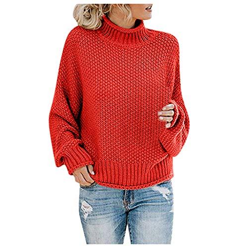 Auifor Suéter Fuera del Hombro para Mujer Jersey de Manga Larga Suelta de Punto Casual(A-Rojo/Large)