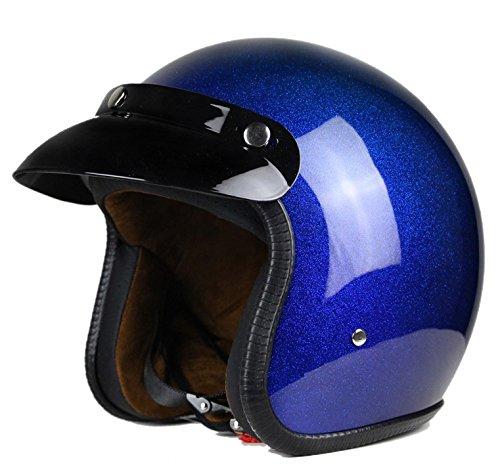Woljay 3/4 Offener Sturzhelm, Helmet Motorrad-Helm Jet-Helm Scooter-Helm Vespa-Helm Halbhelme Motorrad Helm Flat Blau (L)