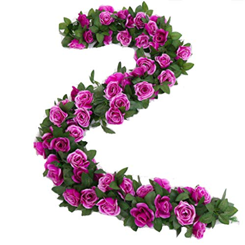 Artificial Rose Vine Garland Silk Hanging Roses Fake Flowers String Artificial Plants Indoor Outdoor Decor Flowers Garland for Wedding Party Home Decor