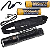 Fenix PD36R 1600 Lumen Type-C USB rechargeable LED tactical Flashlight, 2 X batteries with EdisonBright charging cable carry case bundle