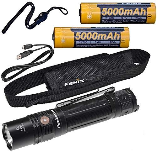 Fenix PD36R 1600 Lumen Type-C USB rechargeable LED tactical Flashlight, 2 X batteries with EdisonBright charging cable carry case bundle