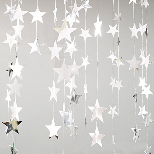 Yuccer 2 pack Paper Garland Decorations Glitter Star Paper Hanging Decor for Wedding Bridal Baby Showers Birthday Christmas Party (Silver)