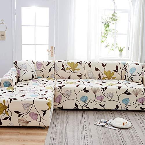 WXQY La Forma de L Necesita Pedir una Funda de sofá de 2 Piezas, Funda de sillón de Toalla de sofá elástica, para sofá de Esquina para Proteger los Muebles A13 de 4 plazas
