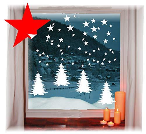 das-label Wiederverwendbare winterliche Fensterbilder weiß  4 x Tannenbäume mit Sterne   Weihnachten   Fensterdeko   konturgetanzt ohne transparenten Hintergrund (Tannenbäume mit Sterne)