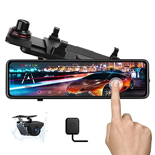 11'' 2.5K Telecamera per Auto Dash Cam Specchietto Retrovisore GPS Touchscreen Telecamera per Auto, Telecamera Posteriore Impermeabile Visione Notturna