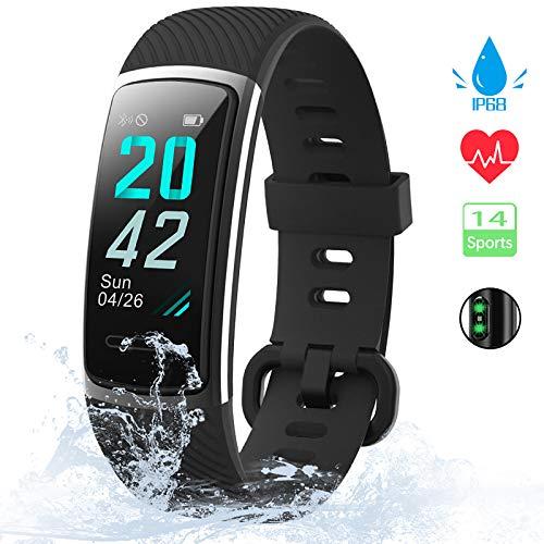 [Neuestes Modell] Fitness Tracker, KUNGIX Schrittzähler Uhr IP68 Wasserdicht Smartwatch mit Pulsmesser Smart Watch für Damen Herren Kinder iOS Android Kompatibel