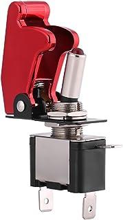 EBTOOLS Auto Kippschalter, 12V 20A Racing Rote Abdeckung LED Licht SPST Kippschalter Steuerung ein/aus