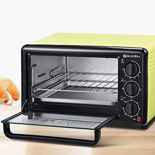 ZGYQGOO Elektrischer Ofen, Kleiner Multifunktions-Toaster, Blaue Edelstahlrohrheizung, 1200 W Leistung, Backen, Backen und Halten, Rotgelb, 19 l