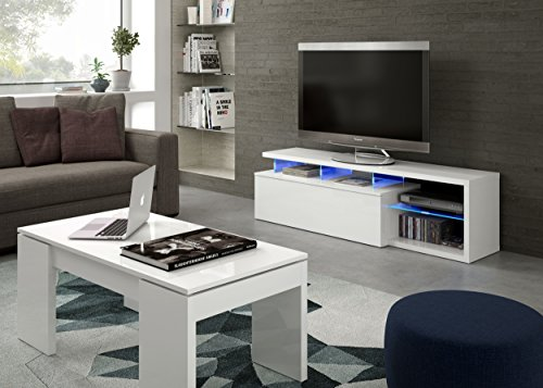 Habitdesign 026630BO - Modulo de TV Moderno, Mueble Salon, Color Blanco Brillo y Luces LED, Medidas: 150x41x43 cm de Altura