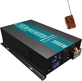 WZRELB 3000W Pure Sine Wave Solar Power Inverter 24VDC to 120VAC 60Hz Power Converter LED Display with 100ft Wireless Remote Control Switch Dual Outles and Hardwiring