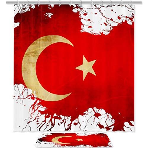 Bennigiry Retro Türkei Flagge Duschvorhang-Set Badezimmer Zubehör 182,9 x 182,9 cm, Polyester Duschvorhänge & Badematte mit 12 Haken