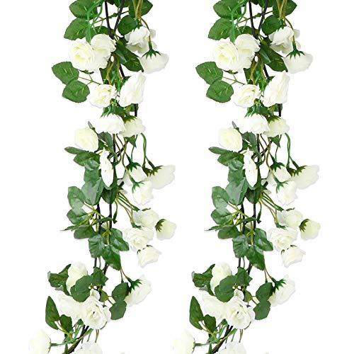 VINFUTUR Guirnalda de Rosas Artificiales 1.8m×2pcs, Flores Guirnalda Artificial Vid de Rosas Falsas Blanco Colgante Plantas con Hiedra para Decoración Jardín Boda Balcón Exterior Interior