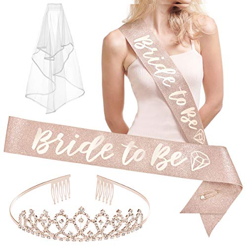 xo, Fetti Bachelorette Party Decorations Rose Gold Glitter Kit - Bridal Shower Supplies | Bride to Be Sash, Tiara, Veil + Bride Tribe Tattoos