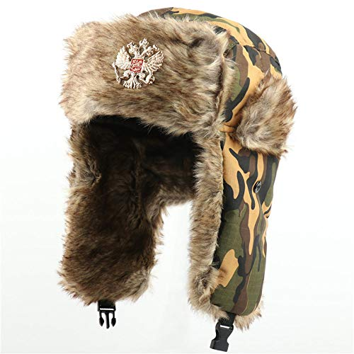 HUYUEXIN Russian Hat,Russian Trapper Hat Green Camouflage with Badge Lei Feng Cap Ushanka Cossack Military Hunting Ski Hat Winter Windproof Thicken Ear Flaps Warm Aviator Hat