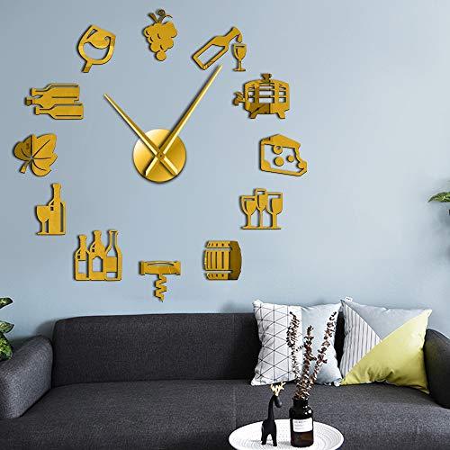 RRBOI Design Moderne de 3D Miroir Acrylique horloges Montre Raisins vin DIY Bar décor de Mur Amant de vin Cadeau (Golden)-27inch