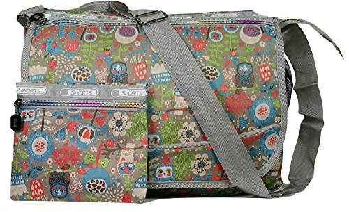 GFM® Glücklich Tasche für Damen und Mädchen - Umhängetasche Schultertasche für Schule, Urlaub, Strand, Fitnessstudio (6212) (Aufwendig Eule (FOL-BH))