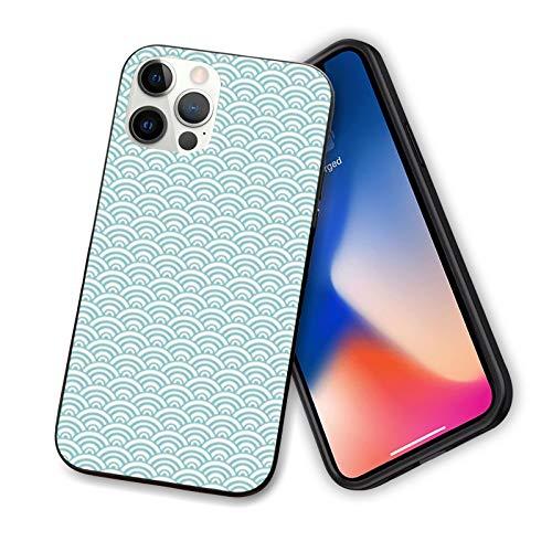 Aqua - Carcasa para iPhone 12 Series 2020, diseño de líneas curvas de burbujas en alta mar, surf, deportes acuáticos, verano, flexible, delgada, TPU para iPhone 12 de 6.1', color azul cielo y blanco