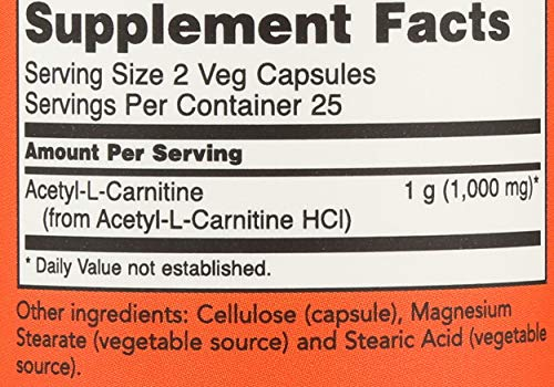Now 500mg Acetyl-L-Carnitine, 50 Count