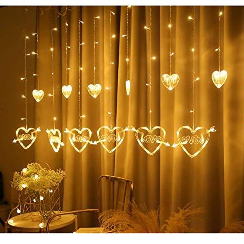 N/A Cortina LED en Forma de corazón Cadena de luz para Colgar en la Ventana Luces de Cortina Cadena Net Navidad Decoración para Fiestas en casa Lámparas de decoración romántica (Color : Warm White)