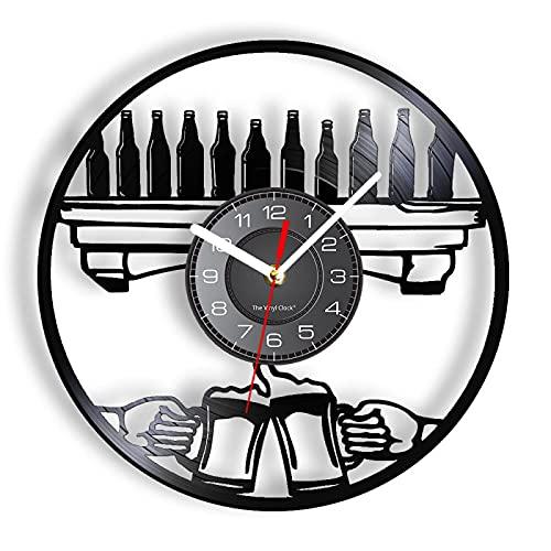 ROMK Reloj de Pared Moderno Wine O'Clcok Gramófono Reloj de Pared con Registro Botellas de Vino Copas de Cerveza Saludos Reloj Luminoso Bar Club Pub Arte Decoración de Pared Luz LED