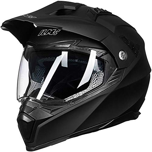 ILM Off Road Motorcycle Dual Sport Helmet Full Face Sun Visor Dirt Bike ATV Motocross DOT Approved (L, Matte Black)