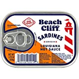 Beach Cliff Sardines in Louisiana Hot Sauce, Wild Caught, High Protein Food, Keto Food & Snacks, Gluten Free Food, High Protein Snacks, Canned Food, Bulk Sardines, 3.75 Oz Cans (Pack Of 12)