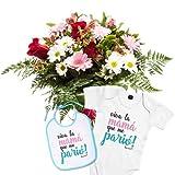 Florclick - Pack Nacimiento- Ramo de flores con Body y babero para recién nacido.