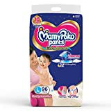 MamyPoko Pants Extra Absorb Baby Diapers Monthly Pack, Large (9 - 14 kg) 96 Count