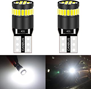 KATUR 194 LED Light Bulb 6000K White Super Bright 168 2825 W5W T10 Wedge 24-SMD 3014 Chipsets LED Replacement Bulbs CANBUS Error Free for Car Dome Map Door Courtesy License Plate Lights (2pcs,White)