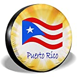 Drew Tours Copriruota, Ruota di scorta Impermeabile, Copricerchi Bandiera portoricana Copertura per Pneumatici di Ricambio per autocarri SUV per Pneumatici Diametro 70-75 cm
