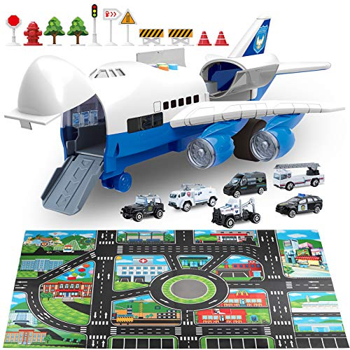 Car Toys Set with Transport Cargo Airplane and Large Play Mat, Mini...