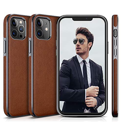 "LOHASIC for iPhone 12 Pro/for iPhone 12 Case, Slim PU Leather Luxury High-end Business Cover Anti Scratch Non Slip Full Protective Phone Cases Compatible with iPhone 12/12 Pro(2020) 6.1"" - Brown"