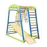 "Centro de actividades con tobogán""Sportwood"" red de escalada, anillos, escalera sueco, campo de juego infantil"