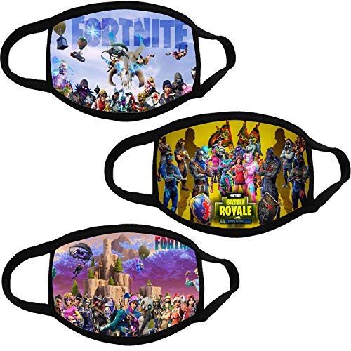 Fortnite 3 Pcs Cloth Mask - Kids Reusable Breathable Face Cover Outdoor Protection for Boys Girl (Color 4, 3 pcs - kids)