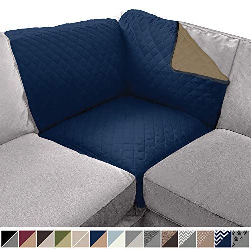 Sofa Shield Original Patent Pending Reversible Sofa Corner Sectional Protector, 30x30 Inch, Washable Furniture Protector, 2 Inch Strap, Sectional Corner Slip Cover for Pets, Dogs, Kids, Navy Sand