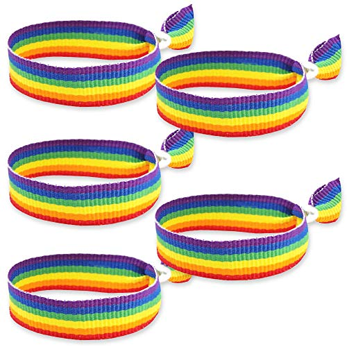 HAND-PRO Pulsera LGBT Tela Pulsera Orgullo Gay Pulsera Pride Pulsera Bandera LGBT Cinta LGBTI Pulsera Arcoiris Cinta Arcoiris Pulsera Gay