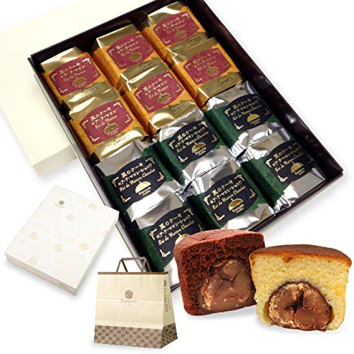 大粒栗のマロンケーキ ロアドマロン 12個入 手提げ紙袋付き お年賀 お菓子 ギフト 詰め合わせ 個包装