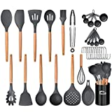 Aybloom 25 PCS Silicone Kitchen Cooking Utensil Set, Woodle Handle BPA Free Non Toxic Non-stick Heat Resistant Silicone Kitchen Gadgets Utensil Set(Black Gray 25pcs)
