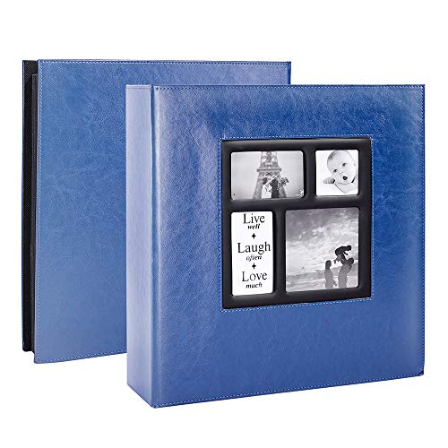 Lanpn Photo Album 4x6 1000 Photos, Extra Large Capacity Leather Cover Picture Photo Albums Holds 1000 Pockets Horizontal and Vertical 4x6 Pictures with Black Pages for Family Wedding Blue