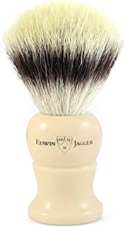 Edwin Jagger Synthetic, Super, Silver & Best Badger Shaving Brush (Extra Large, Synthetic Fill, Imitation Ivory)