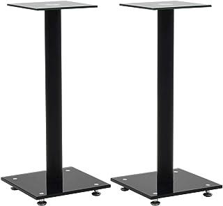 vidaXL 2X stojaki na głośniki szkło hartowane 1 filar design czarny uchwyt stojak