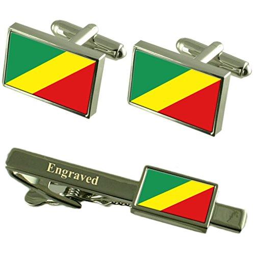 Select Gifts Kongo-brazzaville Fahne Manschettenknöpfe gravierte Krawattenklammer passende Box Set