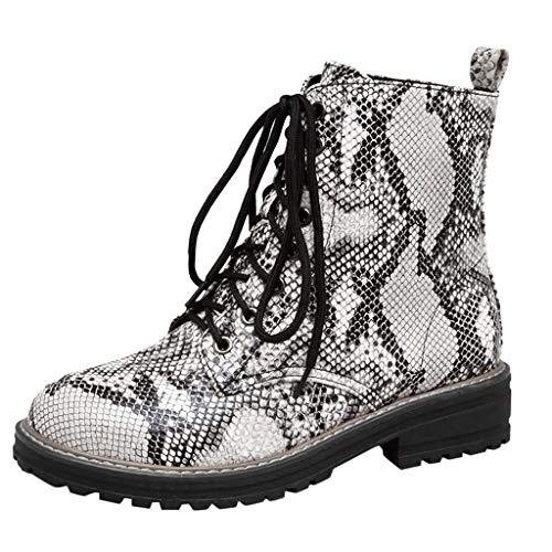 Reasoncool Damen Combat Boots Ankle Booties Flach Flandell Winterschuhe Schlangenmuster Stiefeletten Gummi Profilsohle Plateau Stiefel Knöchel Schnürstiefel Glattleder rutschfest Kletterschuhe
