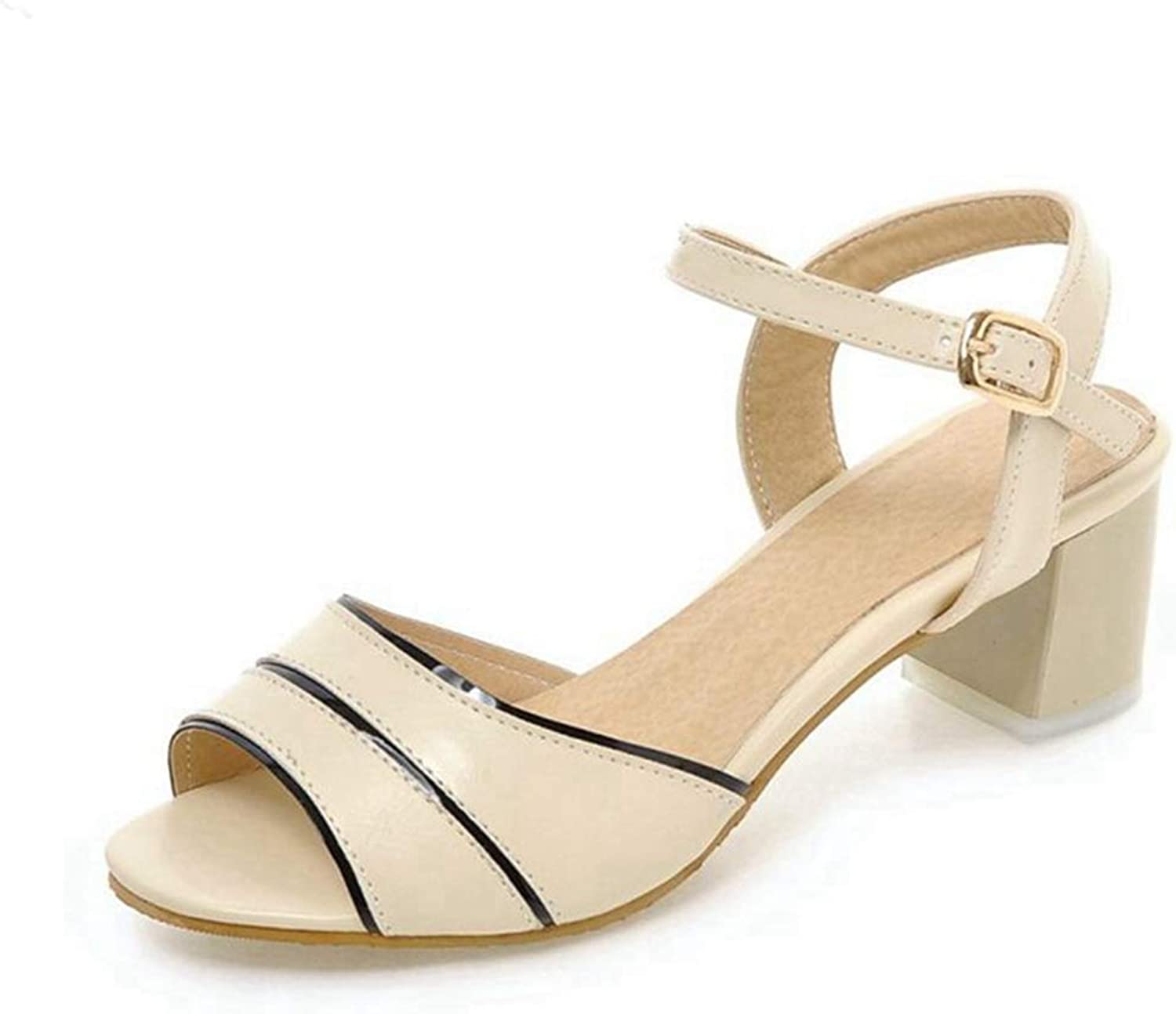 Girls Sandal Women Mid High-Heeled Sandals Square Heel Ladies Fashion Plus Size Summer shoes