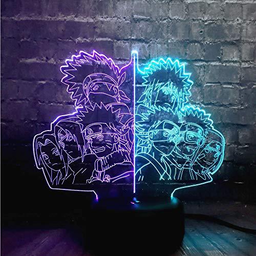 Uzumaki Naruto - Lámpara familiar 3D con sensor LED de...